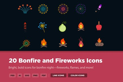 20 Bonfire and Fireworks Icons