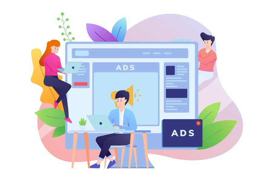 Ilustración de publicidad en línea