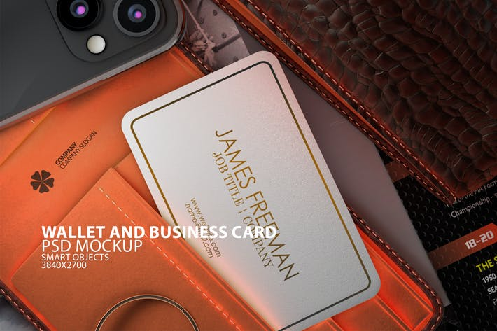 Thumbnail for Wallet with Business Card PSD Mock-up
