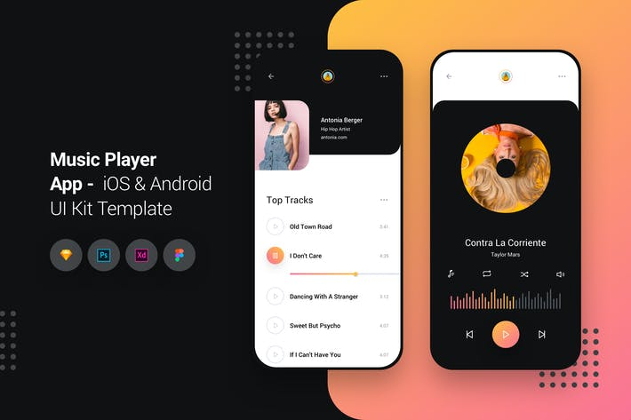 Thumbnail for Music Player App iOS & Android UI Kit Template