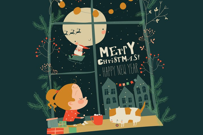 Thumbnail for Little girl looking out of the window behind Santa