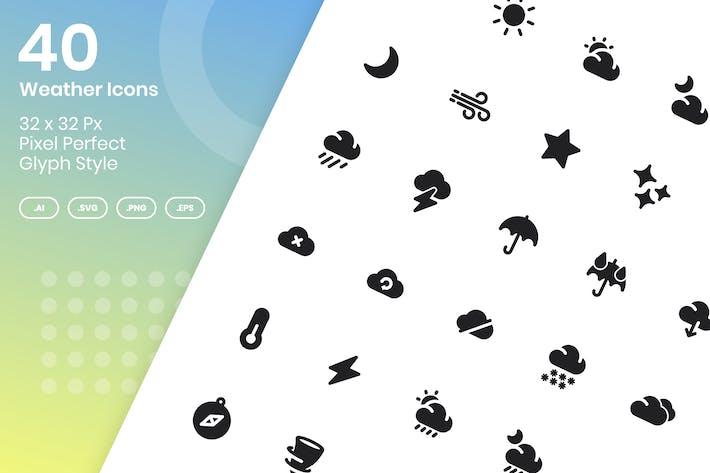 Thumbnail for 40 WetterIcons Set - Glyphe