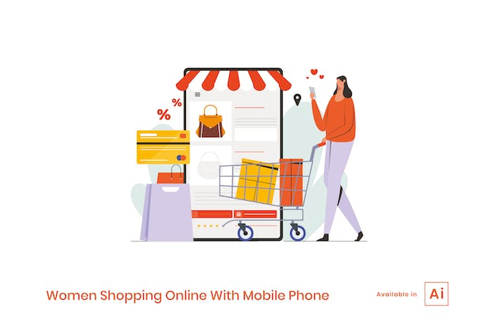 Thumbnail for Women Shopping Online With Mobile Phone