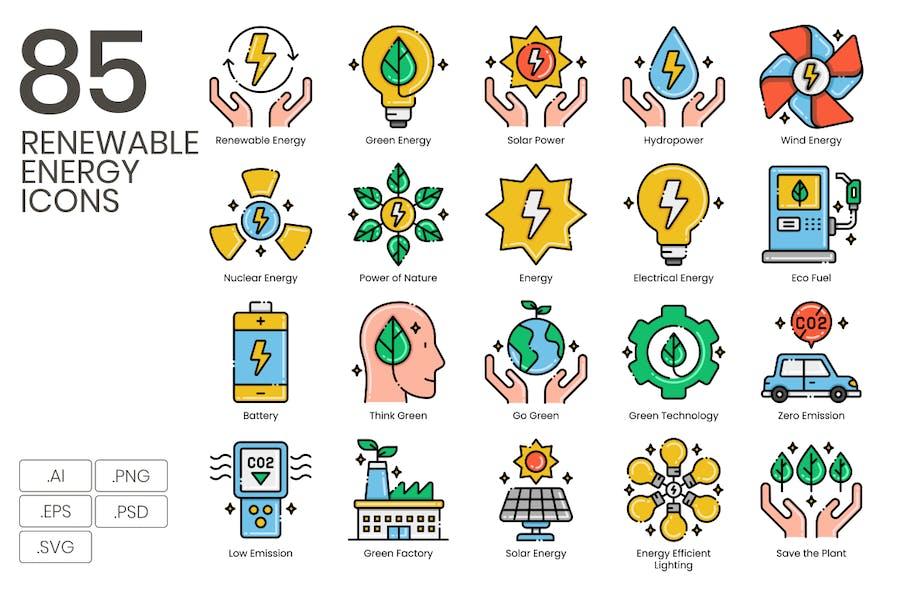 Erneuerbare Energien Icons