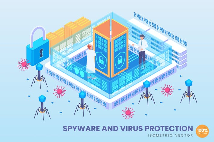 Isometric Spyware And Virus Protection Vector