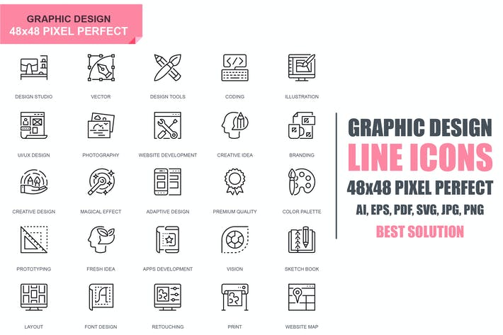Thumbnail for Simple Set Web and Graphic Design Line Icons
