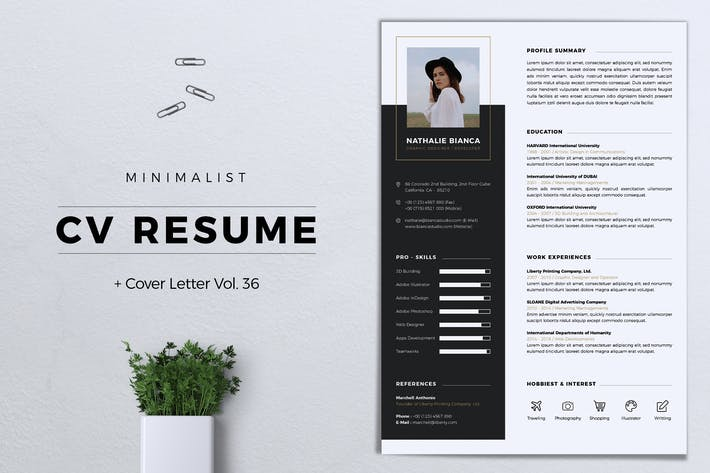 Thumbnail for Minimalist CV Resume Vol. 36