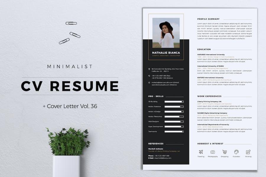 Minimalist CV Resume Vol. 36