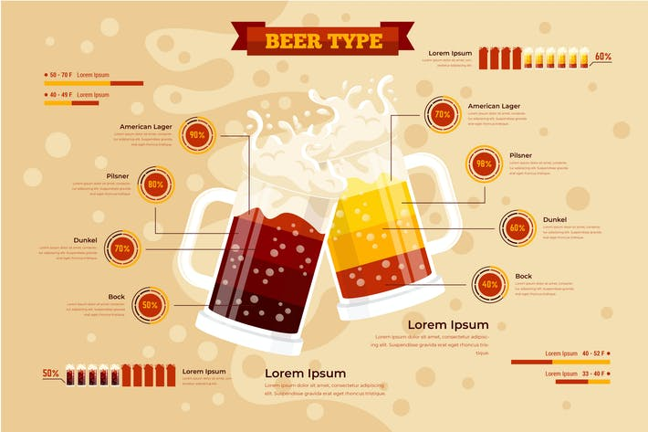Thumbnail for Beer Type Infographic PSD and AI Vector Template