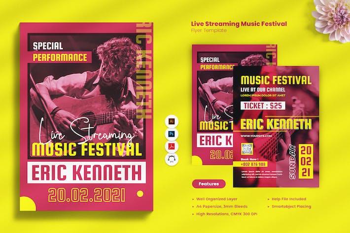 Thumbnail for Live Streaming Music Festival Flyer