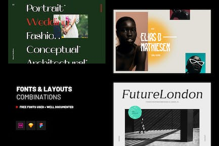 Web Fonts & Layouts Combinations UI Kit Template