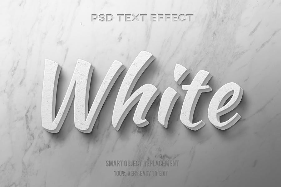 White realistic text effect