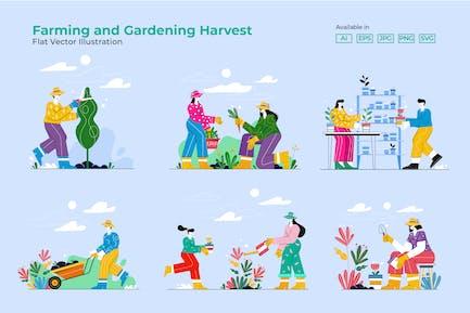 Juego de cosechas de agricultura y jardinería
