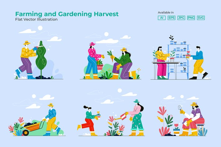 Thumbnail for Farming and Gardening Harvest Set of People