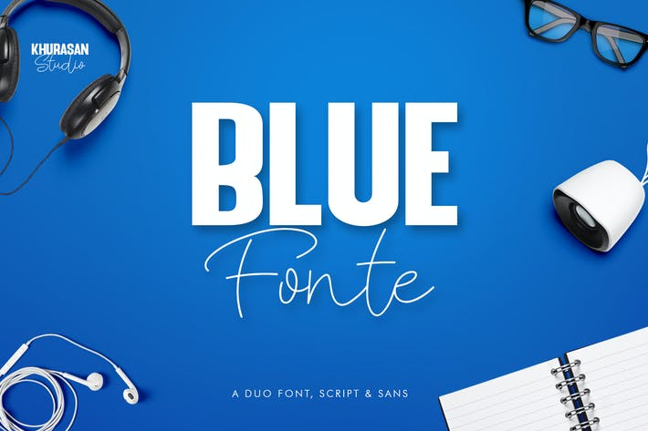 Thumbnail for Blue Fonte Font Duo