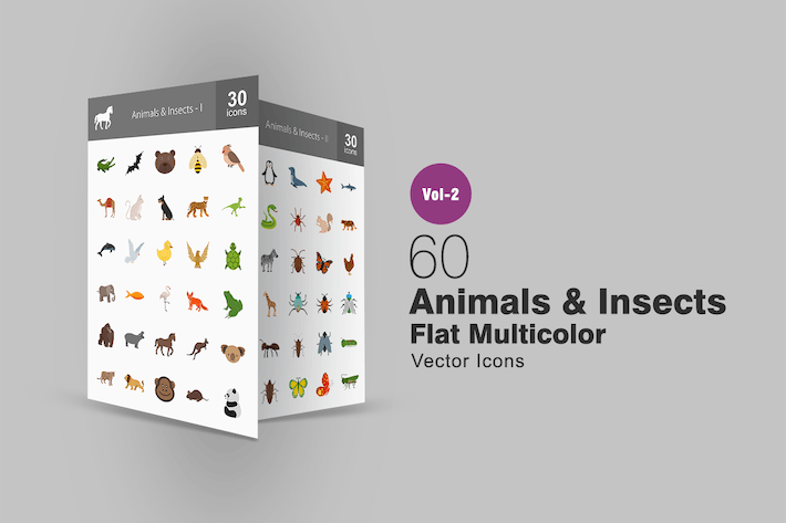 Thumbnail for 60 Animals & Insects Flat Multicolor Icons