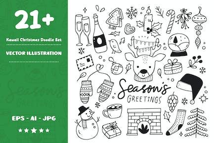 Kawaii Christmas Doodle Set