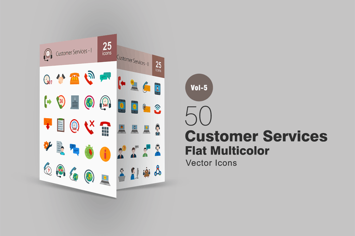 Cover Image For 50 Customer Services Flat Multicolor Icons