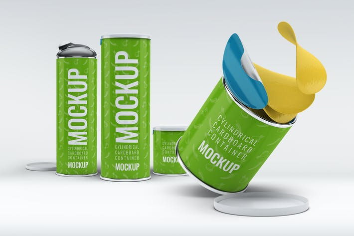 Thumbnail for Cylindrical Cardboard Container Mock-Up