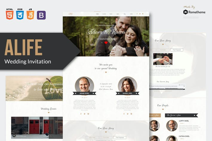 Thumbnail for Alife - Wedding Invitation HTML Template