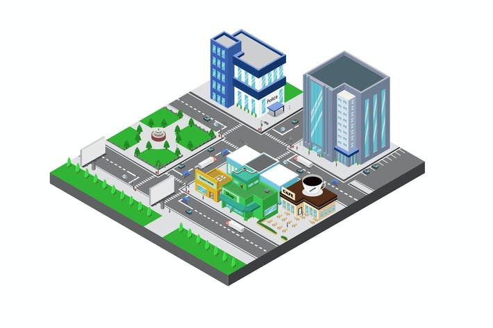 Thumbnail for City View Isometric Illustration