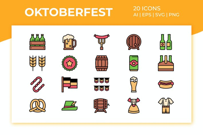 Thumbnail for Oktoberfest Icon Set (Filled Color)