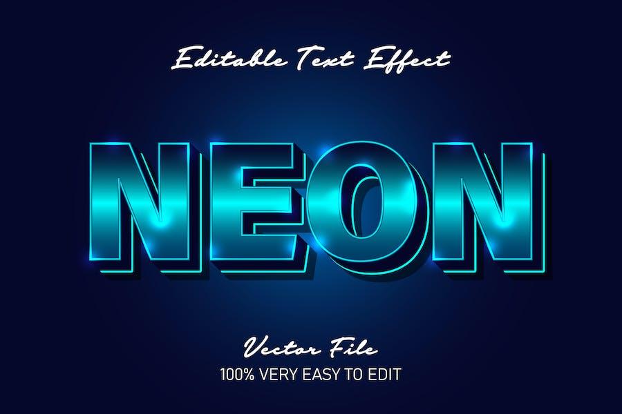Realistic neon glow in dark background text effect