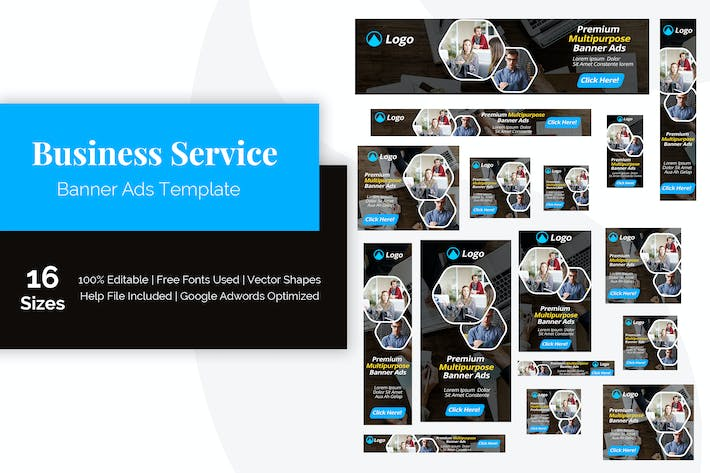 Thumbnail for Business Service Banner Ads Template