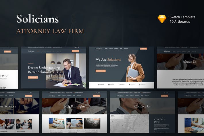 Thumbnail for Solicians - Attorney Law Firm Sketch Template