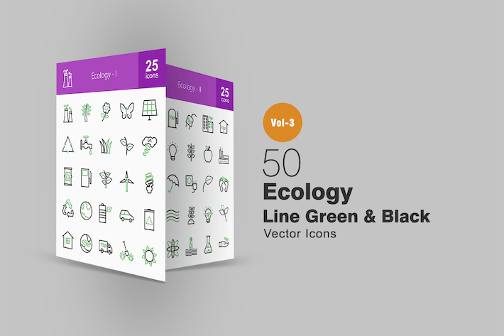 Thumbnail for 50 Ecology Line Green & Black Icons