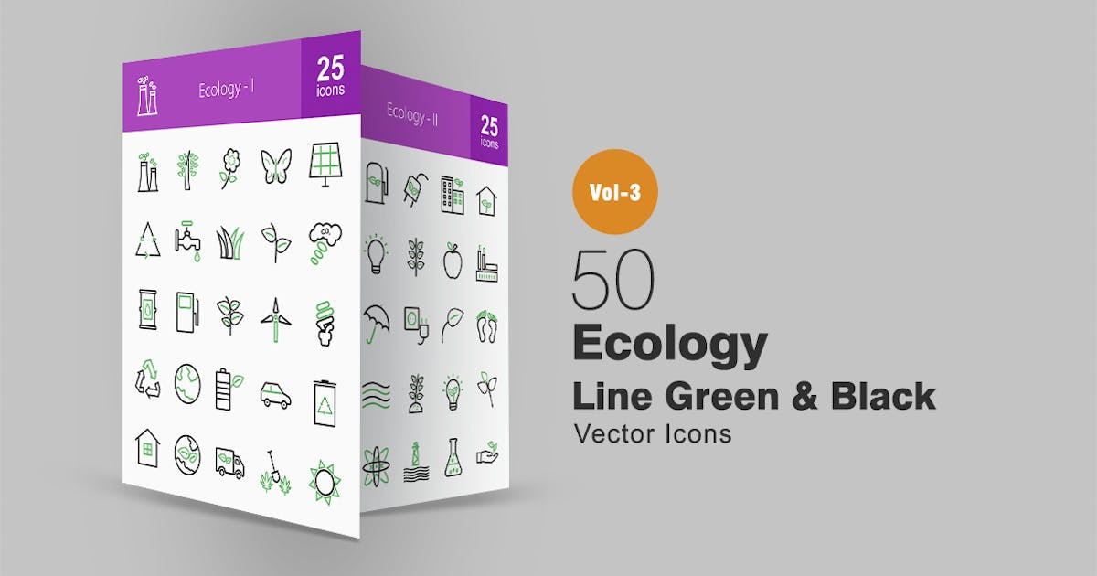 Download 50 Ecology Line Green & Black Icons by Unknow
