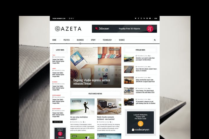 Thumbnail for Gazeta 2 - Responsive News HTML Template