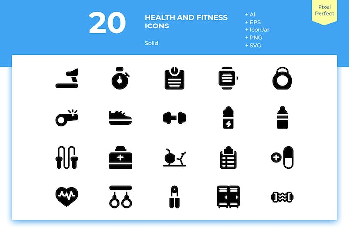 Thumbnail for 20 Health and Fitness Icons (Solid)