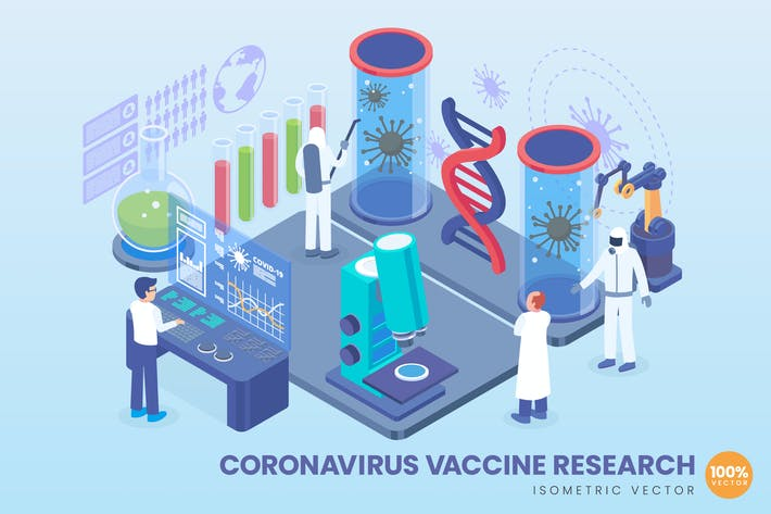 Thumbnail for Isometrischer Coronavirus-Impfstoff ForschungsVektor