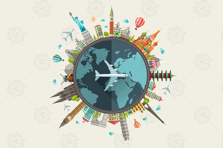 Thumbnail for Travel Around The World - Flat Design Illustration