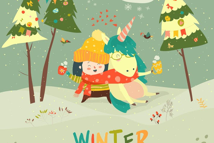 Thumbnail for Cute girl hugging unicorn. Winter wonderland.