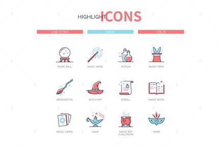 Magic concept - line design style icons set
