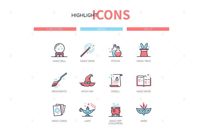 Cover Image For Concepto mágico - conjunto de Íconos de estilo de diseño de línea