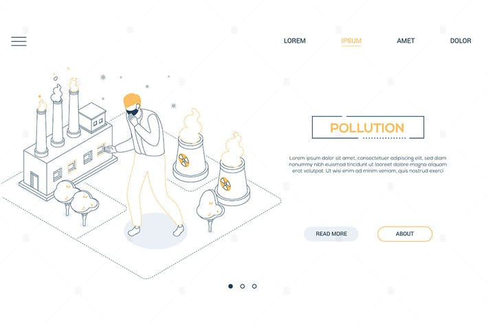 Thumbnail for Air pollution - line design isometric web banner