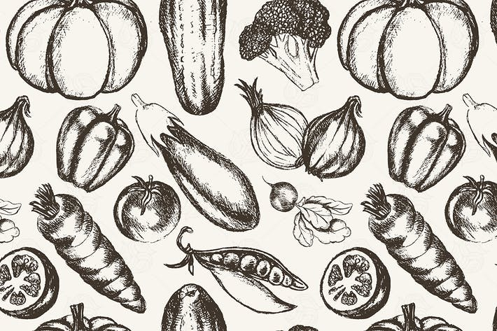 Thumbnail for Vegetables - hand drawn seamless pattern