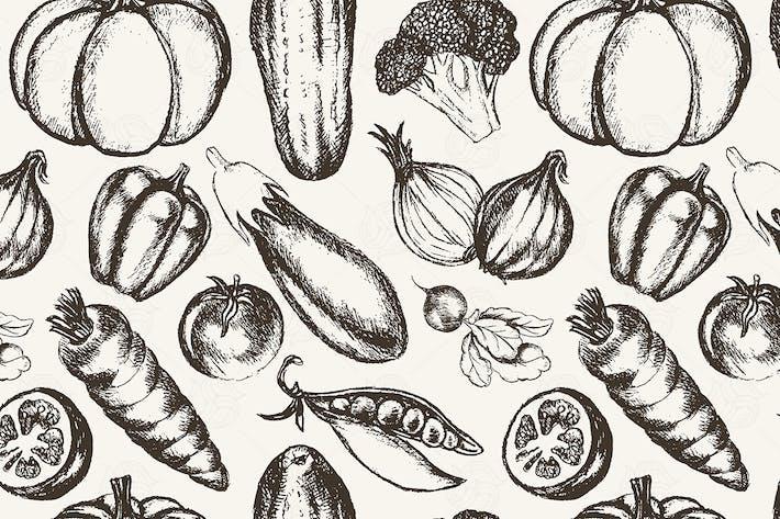 Thumbnail for Vegetales - patrón sin costuras dibujado a Mano