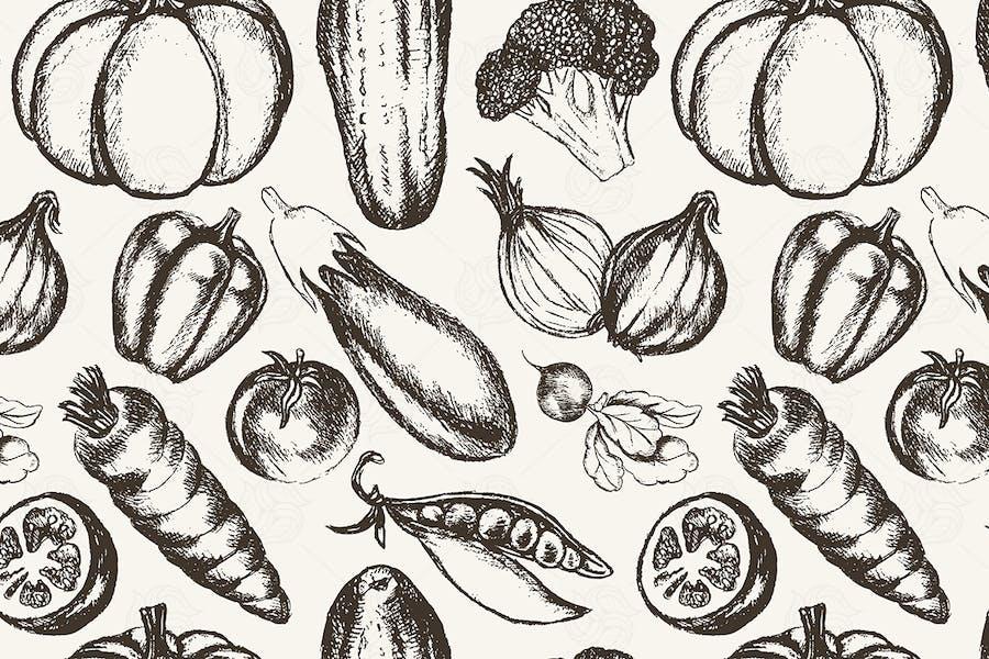 Vegetables - hand drawn seamless pattern