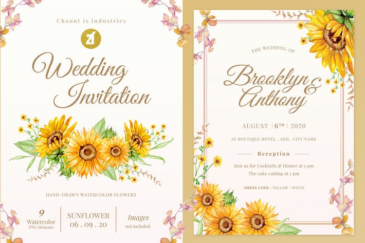 Thumbnail for Tournesol Aquarelle Mariage Invitation