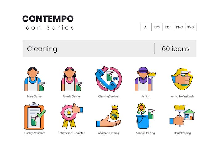 Thumbnail for 60 Cleaning Icons | Contempo Series
