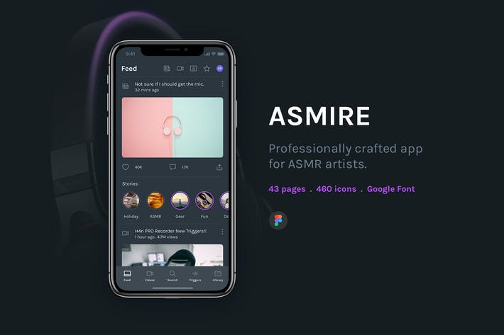 Thumbnail for Asmire App Figma Template