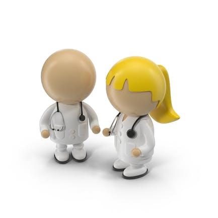 Médicos de Dibujos animados masculinos y Mujer