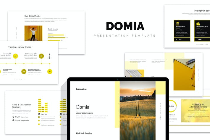 Thumbnail for Domia: Желтый цветной тон Pitch Deck Powerpoint