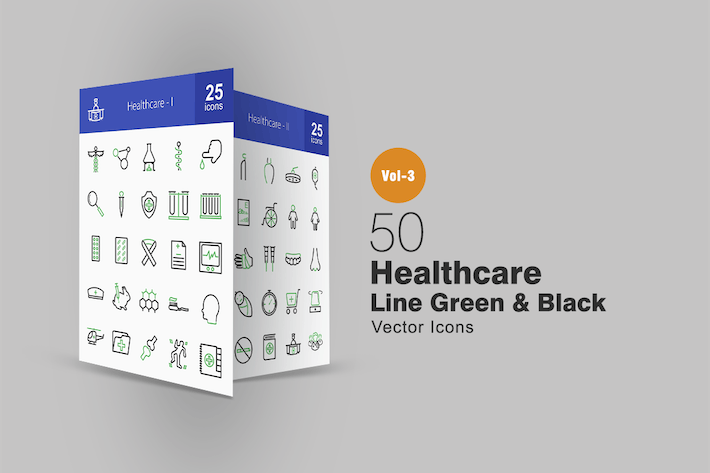 Thumbnail for 50 Healthcare Line Green & Black Icons