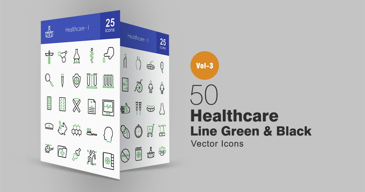 Download 50 Healthcare Line Green & Black Icons by IconBunny