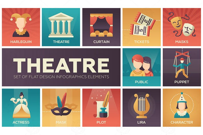 Thumbnail for Theatre - set of flat design infographics elements